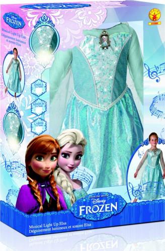 Déguisement luxe lumineux et sonore Elsa La Reine des Neiges™ enfant-1