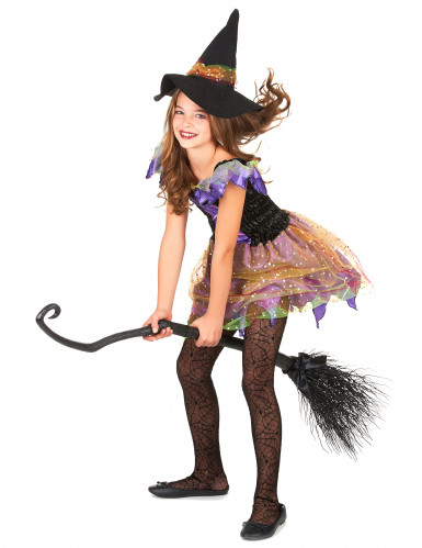 Déguisement sorcière colorée avec manches bouffantes fille-1