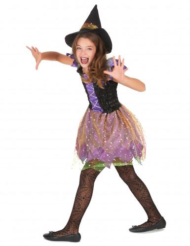 Déguisement sorcière colorée avec manches bouffantes fille-2
