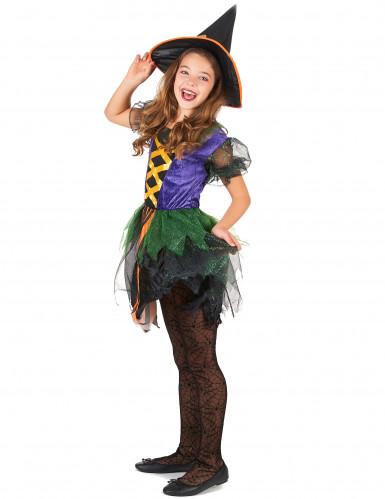 Déguisement sorcière multicolore fille-1