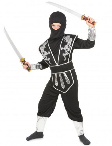 Déguisement ninja noir et argenté garçon-1