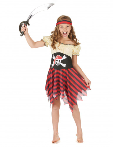 Déguisement pirate jaune et rouge fille
