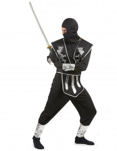 Déguisement ninja noir et argenté homme