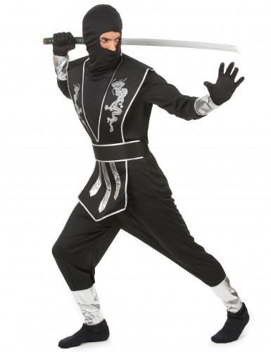 Déguisement ninja noir et argenté homme-1