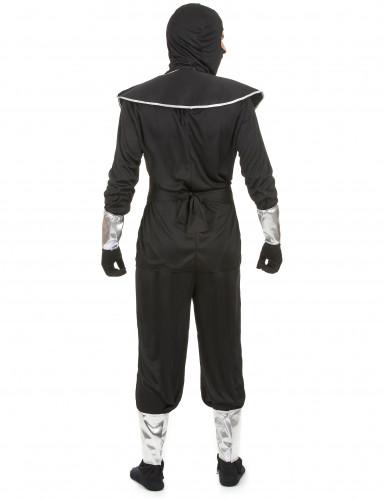 Déguisement ninja noir et argenté homme-2