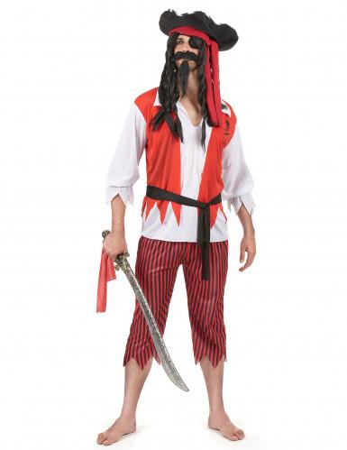 Déguisement pirate rouge et blanc homme