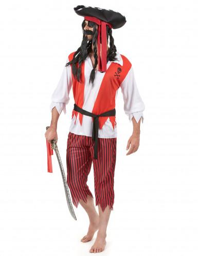 Déguisement pirate rouge et blanc homme-1