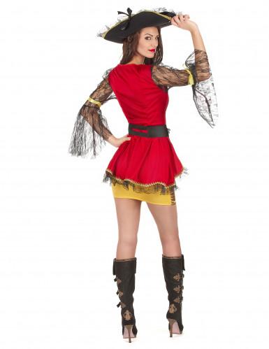 Déguisement pirate rouge et doré femme-2