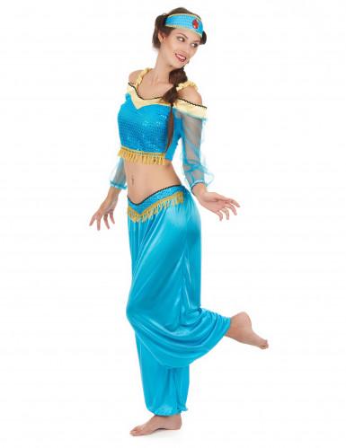 Déguisement danseuse orientale bleue et or femme-1
