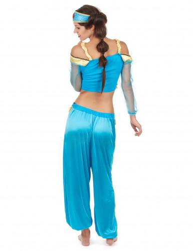 Déguisement danseuse orientale bleue et or femme-2