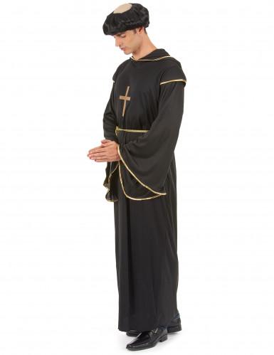 Déguisement moine noir et doré homme-1