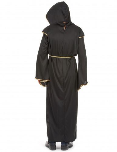 Déguisement moine noir et doré homme-2
