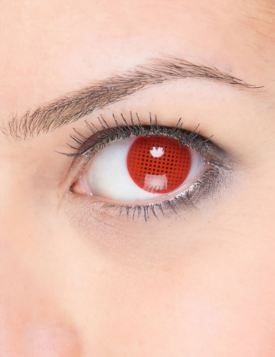 Lentilles fantaisie quadrillage rouge adulte