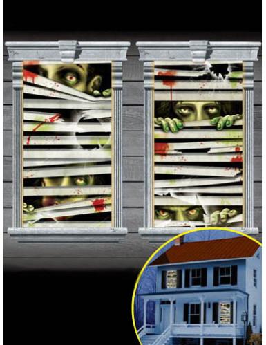 2 d corations de fen tres zombies deguise toi achat de decoration animation. Black Bedroom Furniture Sets. Home Design Ideas