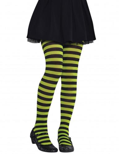 Collants rayés vert et noir enfant