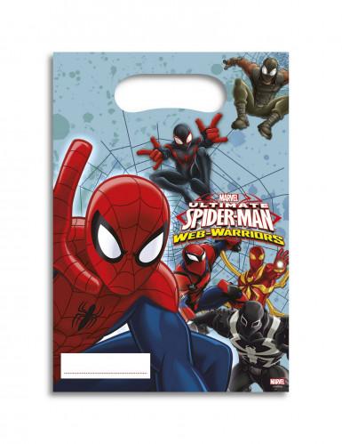 6 Sacs cadeaux Spiderman™ 16,5 x 23 cm