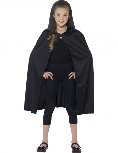 Cape à capuche noire enfant Halloween-1