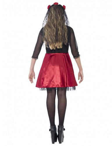 Déguisement squelette rouge à paillettes adolescente Halloween-2