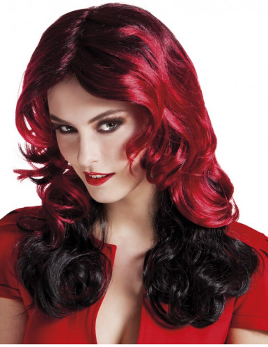 Perruque mi-longue rouge et noire femme