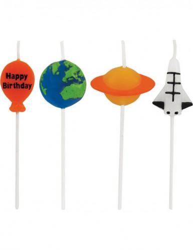 4 Bougies anniversaire de l'espace 7.5 cm