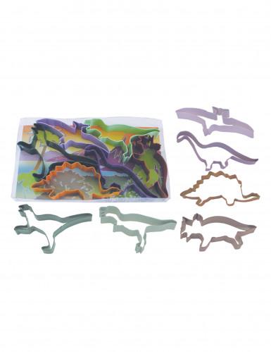 6 Emporte-pièces en métal anniversaire Dinosaures 15 cm