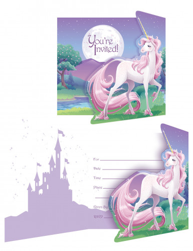 8 Cartes d'invitation Licorne magique 12 x 10 cm