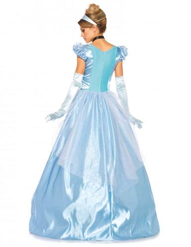 Déguisement princesse robe bleu satiné femme-2