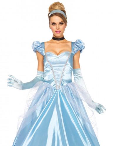 Déguisement princesse robe bleu satiné femme-1