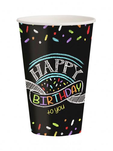8 Gobelets Confettis Happy Birthday