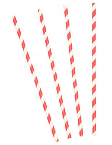 10 Pailles en carton à rayures rouges et blanches 19,5 cm