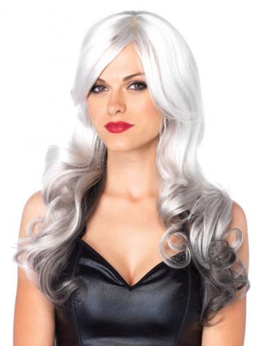 Perruque longue degradé grise femme