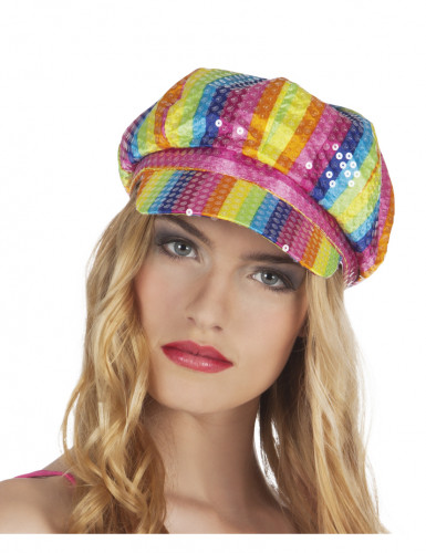 Casquette multicolore à sequins adulte