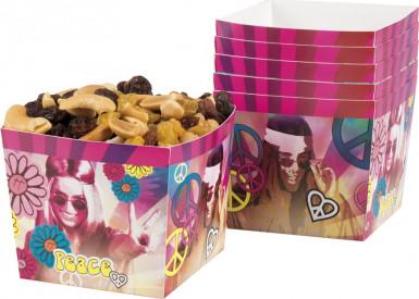 6 Pots à bonbons en carton Hippie Flower Power 400 ml