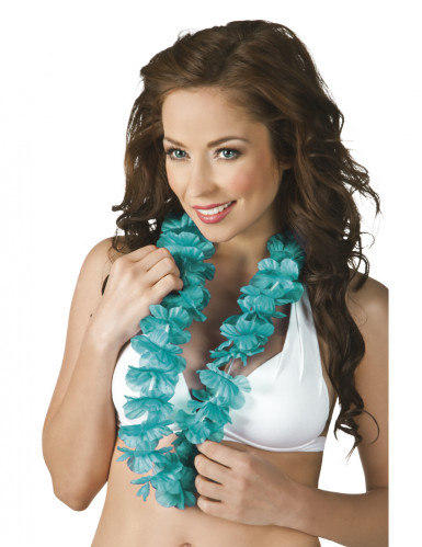 Collier Hawaï turquoise femme