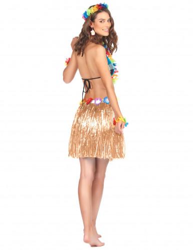 Jupe hawaïenne courte en plastique adulte-1