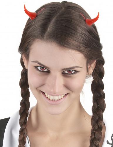 Cornes de diable avec barrettes Halloween-1
