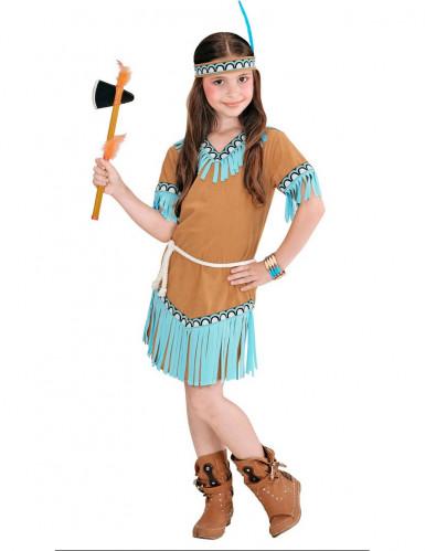 Déguisement petite indienne marron et bleue fille-1