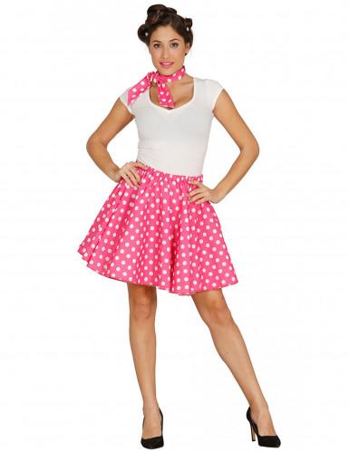 Jupe et foulard roses à pois années 50 femme