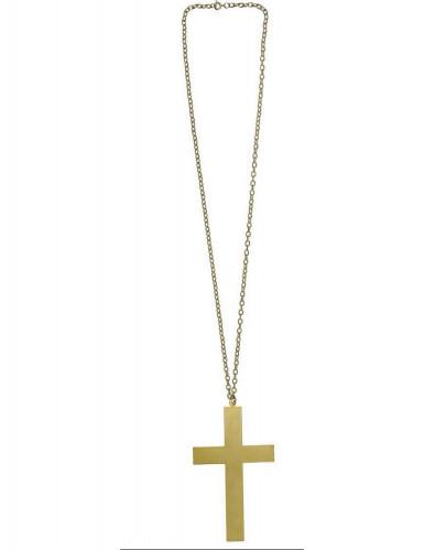 Collier croix moine doré-1