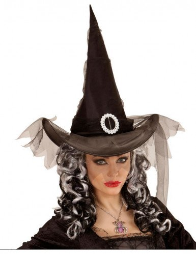Chapeau sorcière noir avec voile femme