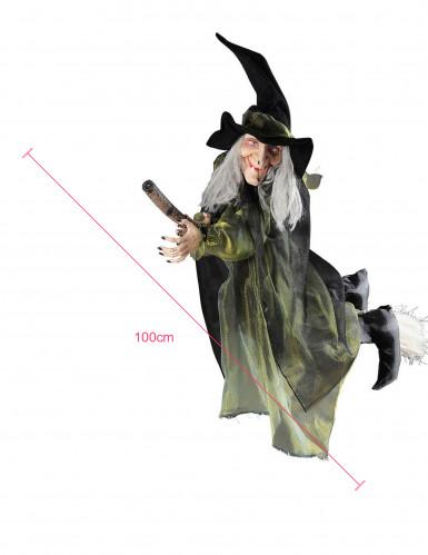 Décoration sorcière volante sur balai 100 cm halloween-1