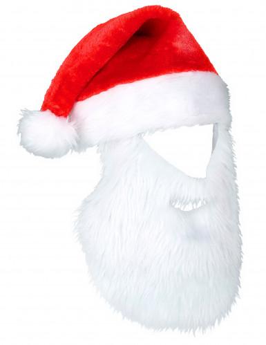 Bonnet Père Noël avec barbe adulte Noël