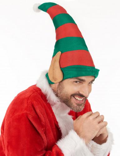 Bonnet lutin du Père Noël rayé avec oreilles adulte-2
