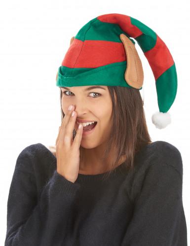 Bonnet lutin du Père Noël rayé avec oreilles adulte-1