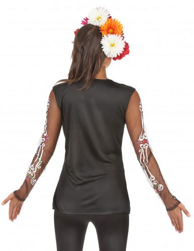 T-shirt squelette coloré femme Dia de los muertos-1