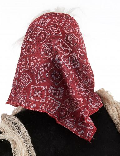 Masque vieille sorcière avec cheveux et foulard femme-1