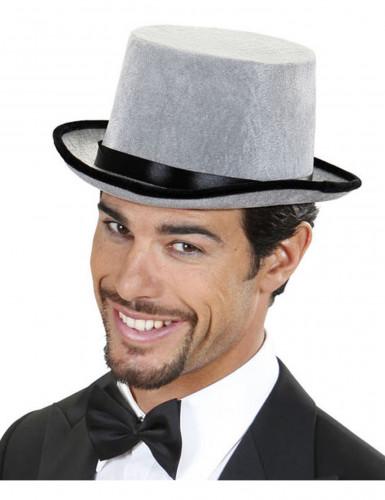 Chapeau haut de forme gris et noir adulte