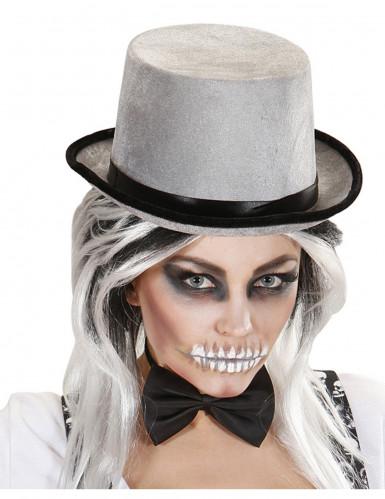 Chapeau haut de forme gris et noir adulte-1