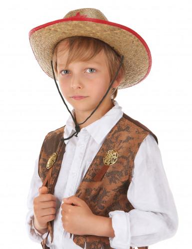 Chapeau cowboy de l'ouest en paille enfant-1
