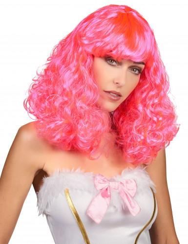 Perruque mi-longue ondulée rose femme